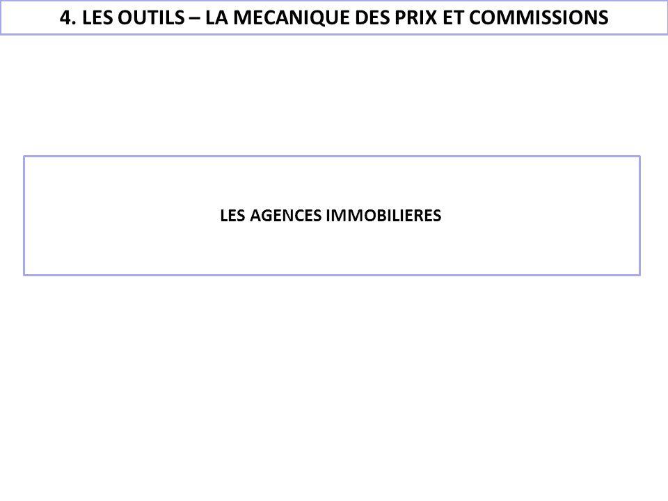 4. LES OUTILS – LA MECANIQUE DES PRIX ET COMMISSIONS LES AGENCES IMMOBILIERES