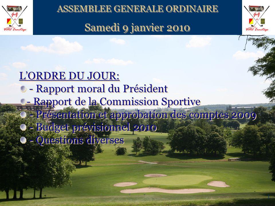 1 ASSEMBLEE GENERALE ORDINAIRE Samedi 9 janvier 2010 ASSEMBLEE GENERALE ORDINAIRE Samedi 9 janvier 2010 LORDRE DU JOUR: - Rapport moral du Président -
