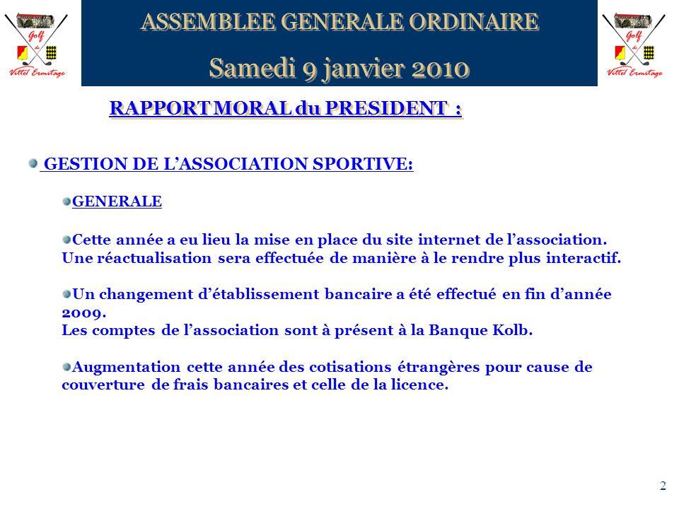 2 RAPPORT MORAL du PRESIDENT : ASSEMBLEE GENERALE ORDINAIRE Samedi 9 janvier 2010 ASSEMBLEE GENERALE ORDINAIRE Samedi 9 janvier 2010 GESTION DE LASSOC