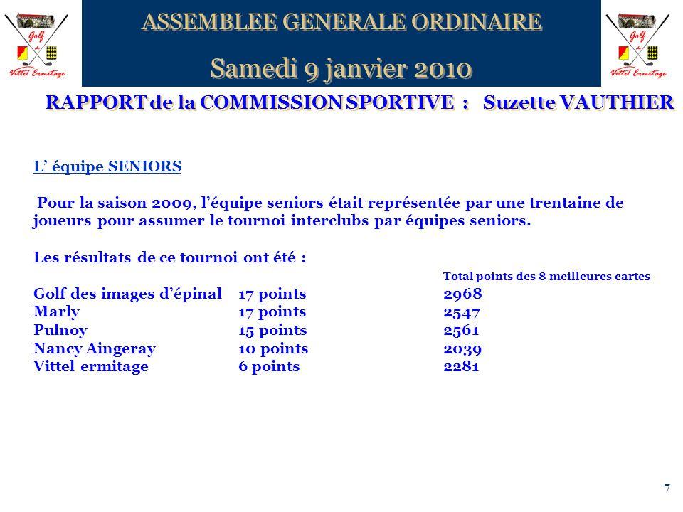 7 RAPPORT de la COMMISSION SPORTIVE : Suzette VAUTHIER ASSEMBLEE GENERALE ORDINAIRE Samedi 9 janvier 2010 ASSEMBLEE GENERALE ORDINAIRE Samedi 9 janvie
