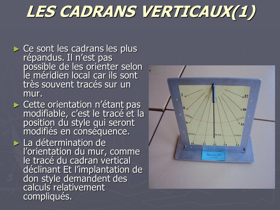 LES CADRANS VERTICAUX(1) Ce sont les cadrans les plus répandus. Il nest pas possible de les orienter selon le méridien local car ils sont très souvent