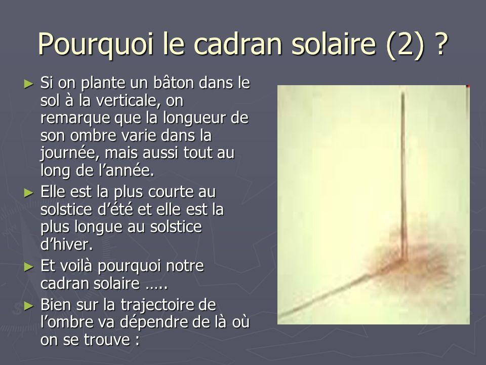 Pourquoi le cadran solaire (2) ? Si on plante un bâton dans le sol à la verticale, on remarque que la longueur de son ombre varie dans la journée, mai