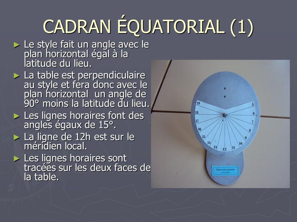 CADRAN ÉQUATORIAL (1) Le style fait un angle avec le plan horizontal égal à la latitude du lieu. Le style fait un angle avec le plan horizontal égal à