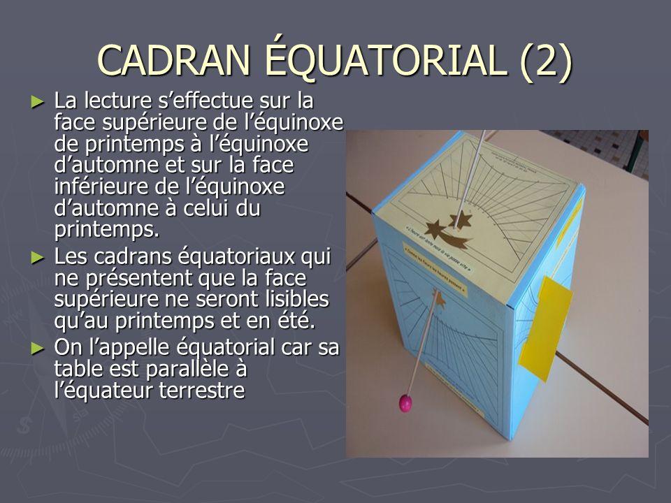 CADRAN ÉQUATORIAL (2) La lecture seffectue sur la face supérieure de léquinoxe de printemps à léquinoxe dautomne et sur la face inférieure de léquinox