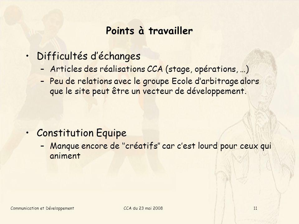 CCA du 23 mai 2008Communication et Développement11 Points à travailler Difficultés déchanges –Articles des réalisations CCA (stage, opérations, …) –Peu de relations avec le groupe Ecole darbitrage alors que le site peut être un vecteur de développement.