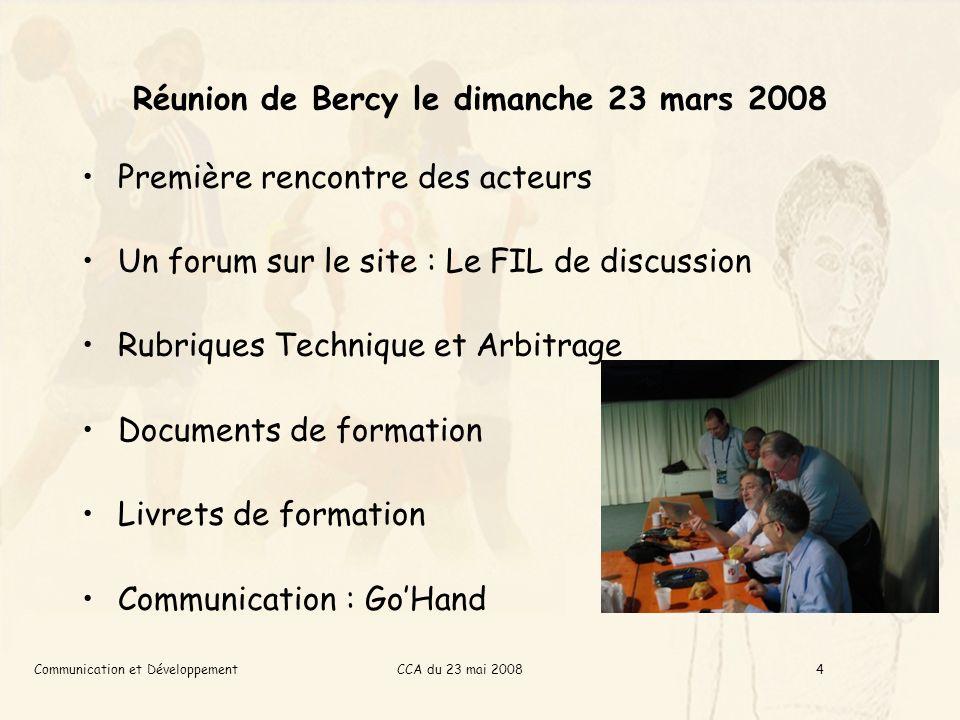 CCA du 23 mai 2008Communication et Développement5 Le site Arbitrhand Les stats De nouvelles rubriques –Concours photos –Larbitrage des années 80 –Portraits dacteurs Questions