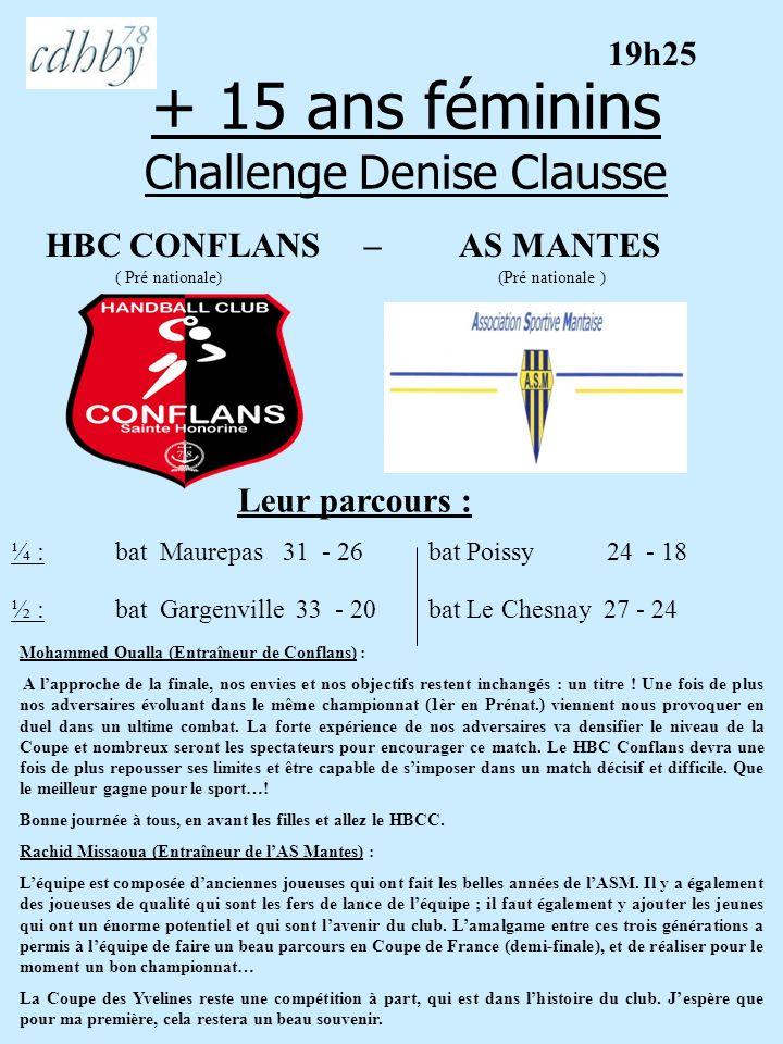 + 15 ans féminins Challenge Denise Clausse HBC CONFLANS – AS MANTES ( Pré nationale) (Pré nationale ) Leur parcours : Mohammed Oualla (Entraîneur de C