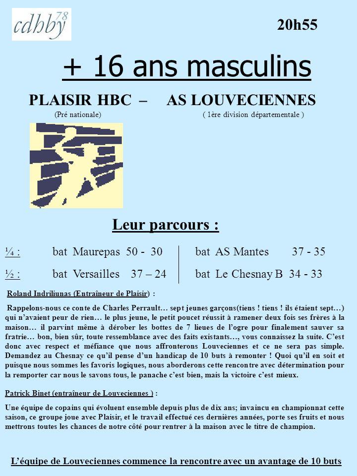 + 16 ans masculins PLAISIR HBC – AS LOUVECIENNES (Pré nationale) ( 1ère division départementale ) Leur parcours : ¼ : bat Maurepas 50 - 30bat AS Mante