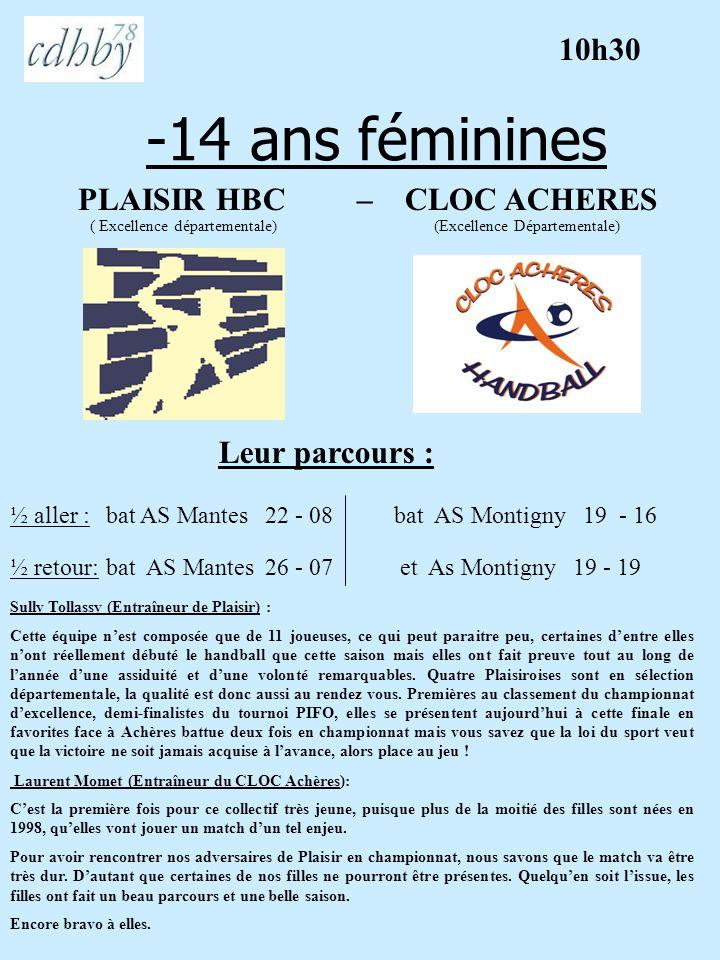 -14 ans féminines PLAISIR HBC – CLOC ACHERES ( Excellence départementale) (Excellence Départementale) Leur parcours : Sully Tollassy (Entraîneur de Pl