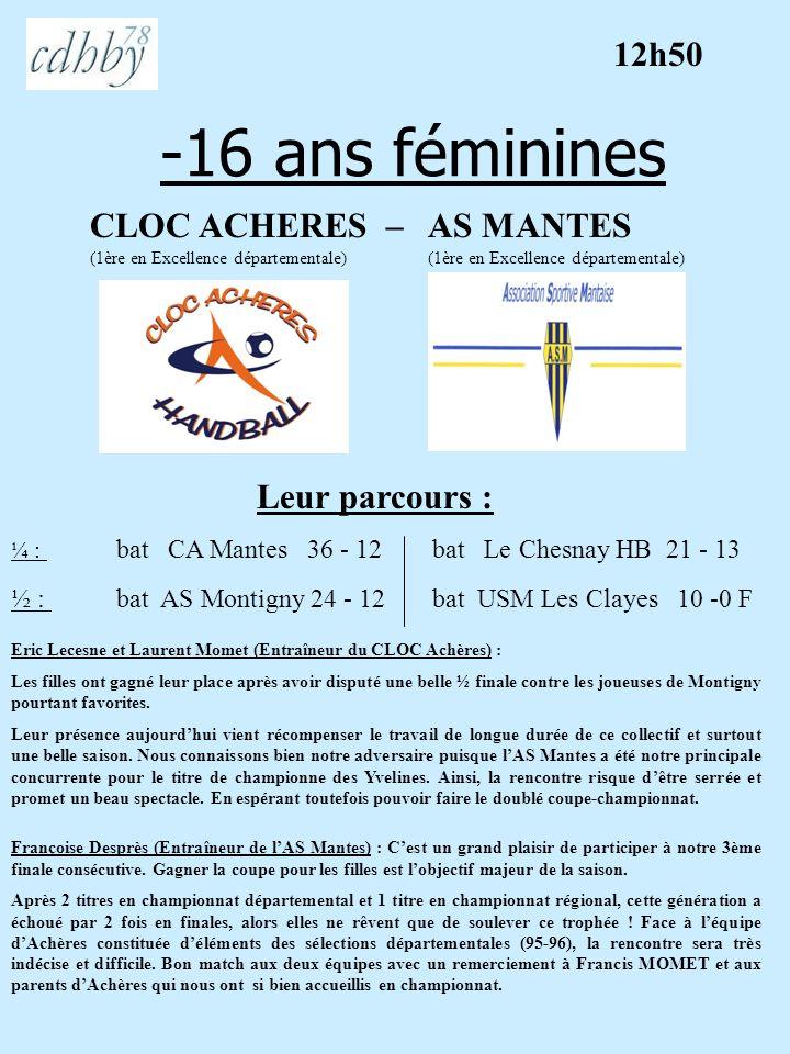 -16 ans féminines CLOC ACHERES – AS MANTES (1ère en Excellence départementale) Leur parcours : Eric Lecesne et Laurent Momet (Entraîneur du CLOC Achèr