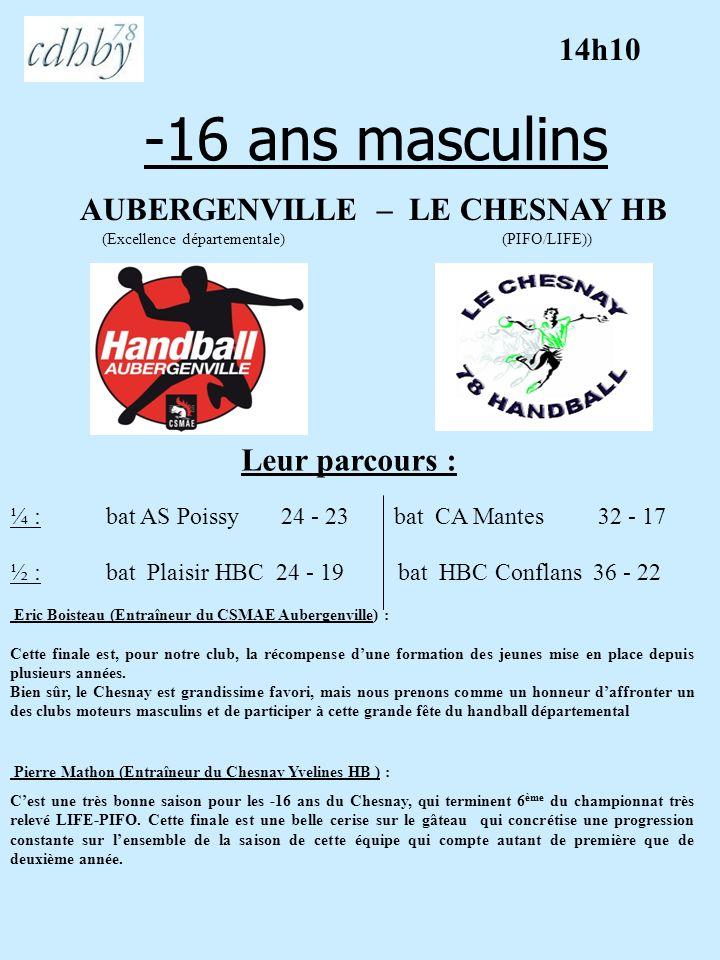 -16 ans masculins AUBERGENVILLE – LE CHESNAY HB (Excellence départementale) (PIFO/LIFE)) Leur parcours : Eric Boisteau (Entraîneur du CSMAE Aubergenvi