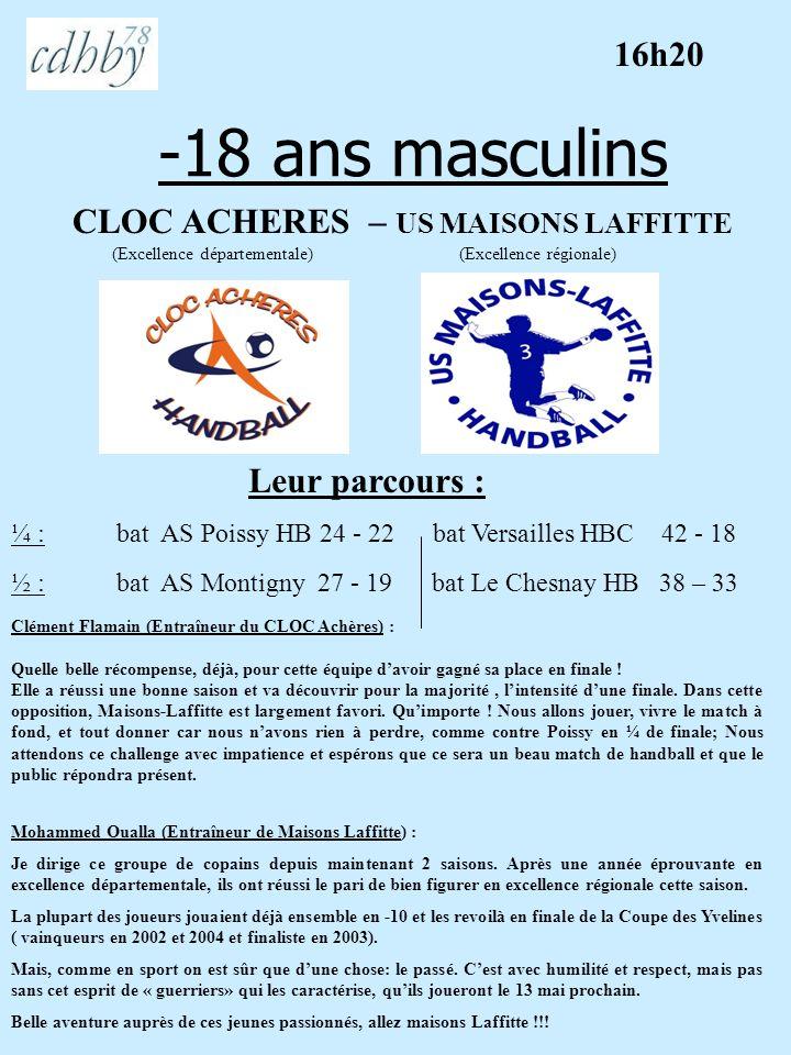 -18 ans féminins AS MONTIGNY – AS POISSY HB (Championnat de France ) (régional géographique) Leur parcours : Emmanuel Bigot (Entraîneur de Montigny) : Je ne dispose que de 6 filles (6 autres retenues pour les interpoles) qui défendront vaillamment leur chance.