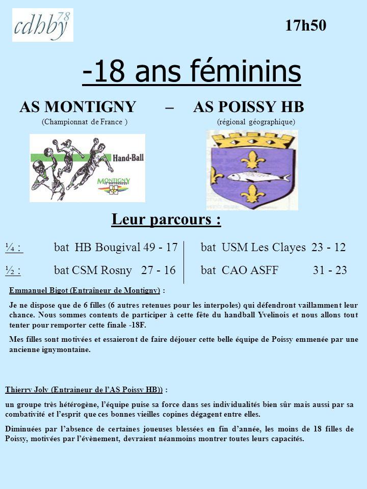 -18 ans féminins AS MONTIGNY – AS POISSY HB (Championnat de France ) (régional géographique) Leur parcours : Emmanuel Bigot (Entraîneur de Montigny) :