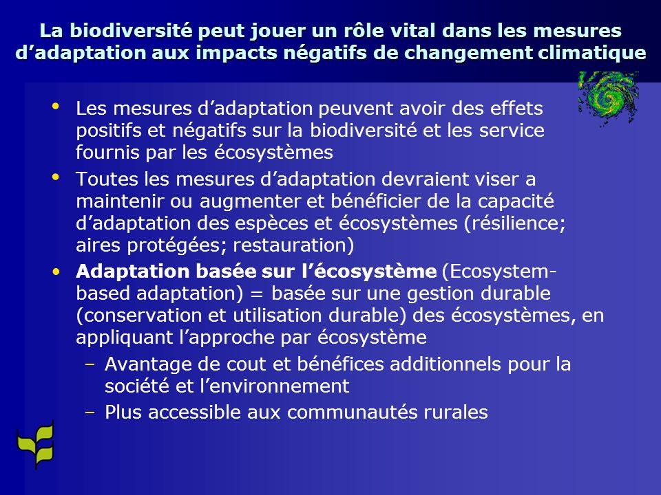 La biodiversité peut jouer un rôle vital dans les mesures dadaptation aux impacts négatifs de changement climatique Les mesures dadaptation peuvent avoir des effets positifs et négatifs sur la biodiversité et les service fournis par les écosystèmes Toutes les mesures dadaptation devraient viser a maintenir ou augmenter et bénéficier de la capacité dadaptation des espèces et écosystèmes (résilience; aires protégées; restauration) Adaptation basée sur lécosystème (Ecosystem- based adaptation) = basée sur une gestion durable (conservation et utilisation durable) des écosystèmes, en appliquant lapproche par écosystème – –Avantage de cout et bénéfices additionnels pour la société et lenvironnement – –Plus accessible aux communautés rurales