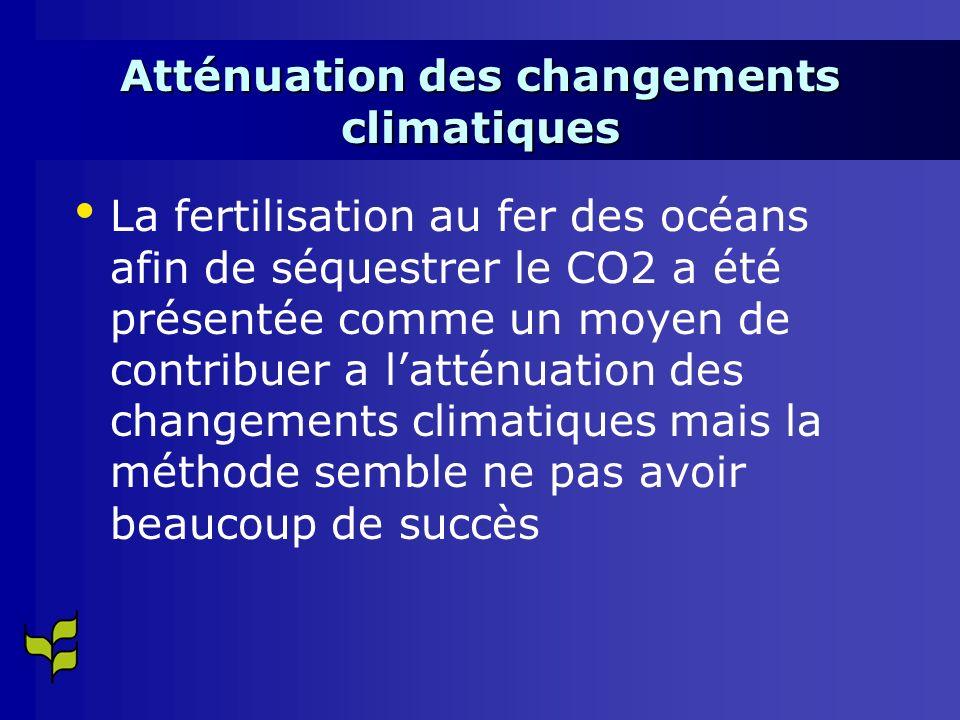 Atténuation des changements climatiques La fertilisation au fer des océans afin de séquestrer le CO2 a été présentée comme un moyen de contribuer a latténuation des changements climatiques mais la méthode semble ne pas avoir beaucoup de succès