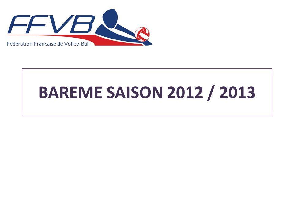 BAREME SAISON 2012 / 2013