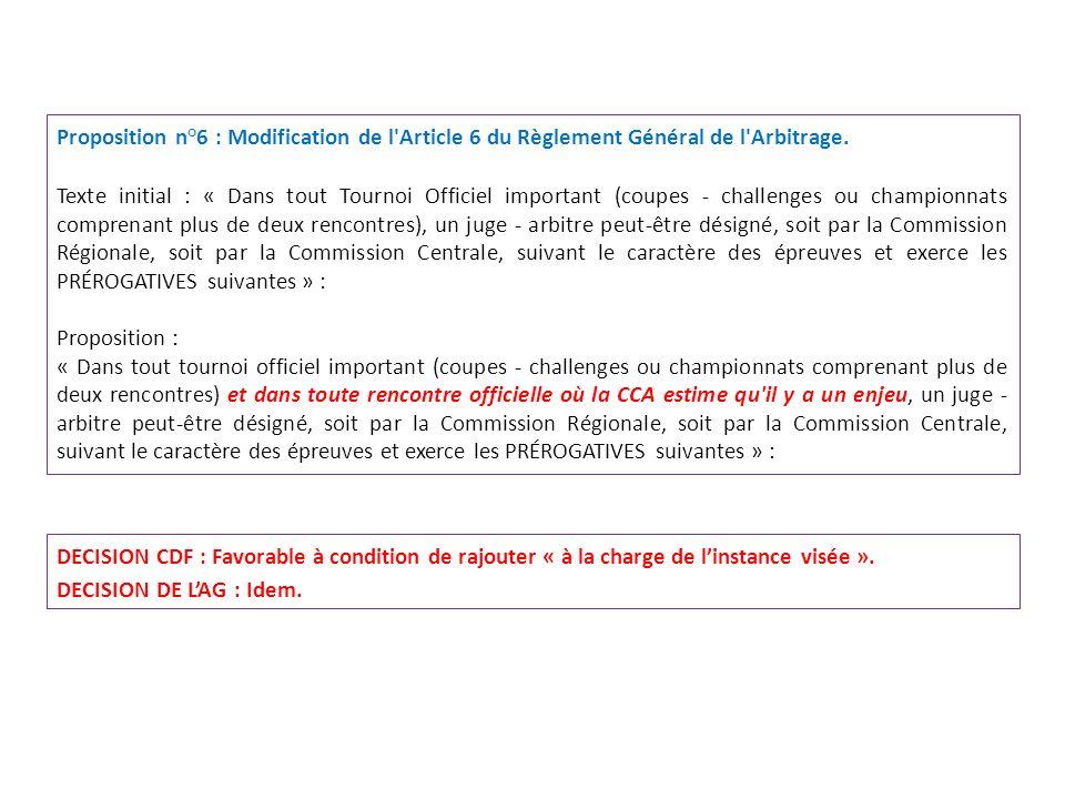 Proposition n°6 : Modification de l'Article 6 du Règlement Général de l'Arbitrage. Texte initial : « Dans tout Tournoi Officiel important (coupes - ch