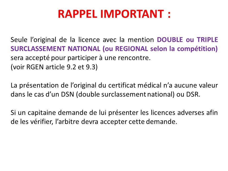 RAPPEL IMPORTANT : Seule loriginal de la licence avec la mention DOUBLE ou TRIPLE SURCLASSEMENT NATIONAL (ou REGIONAL selon la compétition) sera accep