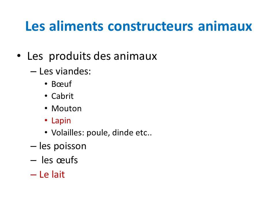 Les aliments constructeurs animaux Les produits des animaux – Les viandes: Bœuf Cabrit Mouton Lapin Volailles: poule, dinde etc.. – les poisson – les