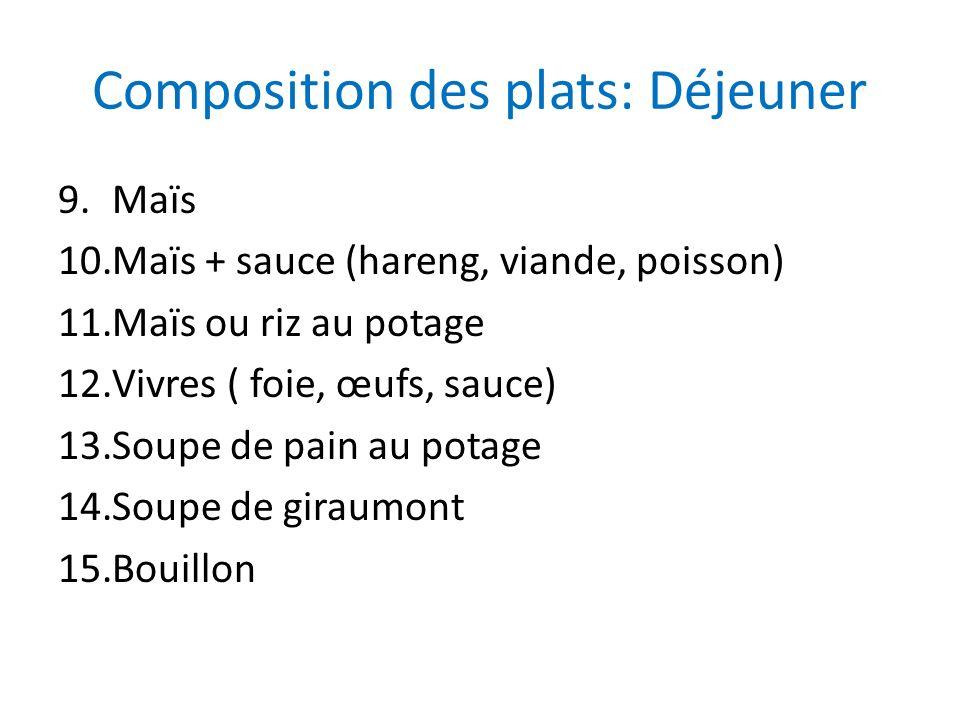Composition des plats: Déjeuner 9.Maïs 10.Maïs + sauce (hareng, viande, poisson) 11.Maïs ou riz au potage 12.Vivres ( foie, œufs, sauce) 13.Soupe de p