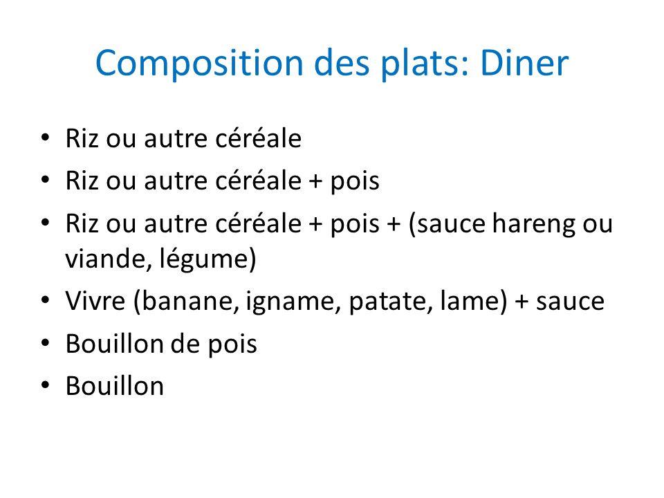 Composition des plats: Diner Riz ou autre céréale Riz ou autre céréale + pois Riz ou autre céréale + pois + (sauce hareng ou viande, légume) Vivre (ba