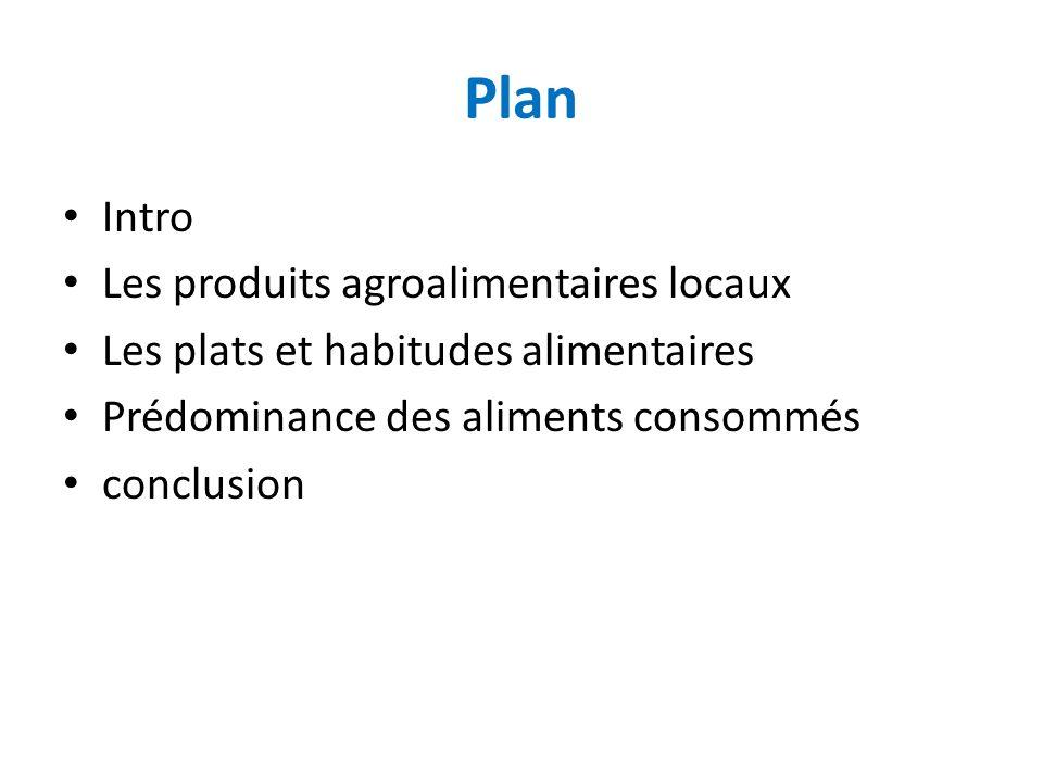 Plan Intro Les produits agroalimentaires locaux Les plats et habitudes alimentaires Prédominance des aliments consommés conclusion