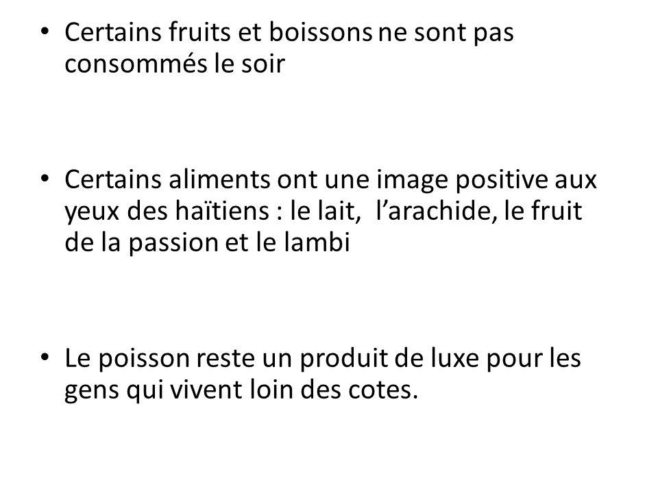 Certains fruits et boissons ne sont pas consommés le soir Certains aliments ont une image positive aux yeux des haïtiens : le lait, larachide, le frui