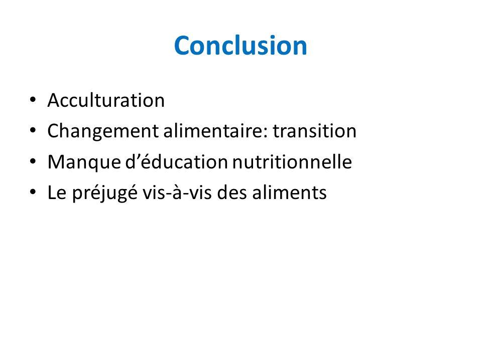 Conclusion Acculturation Changement alimentaire: transition Manque déducation nutritionnelle Le préjugé vis-à-vis des aliments