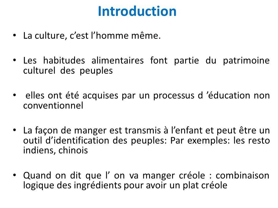 Introduction La culture, cest lhomme même. Les habitudes alimentaires font partie du patrimoine culturel des peuples elles ont été acquises par un pro