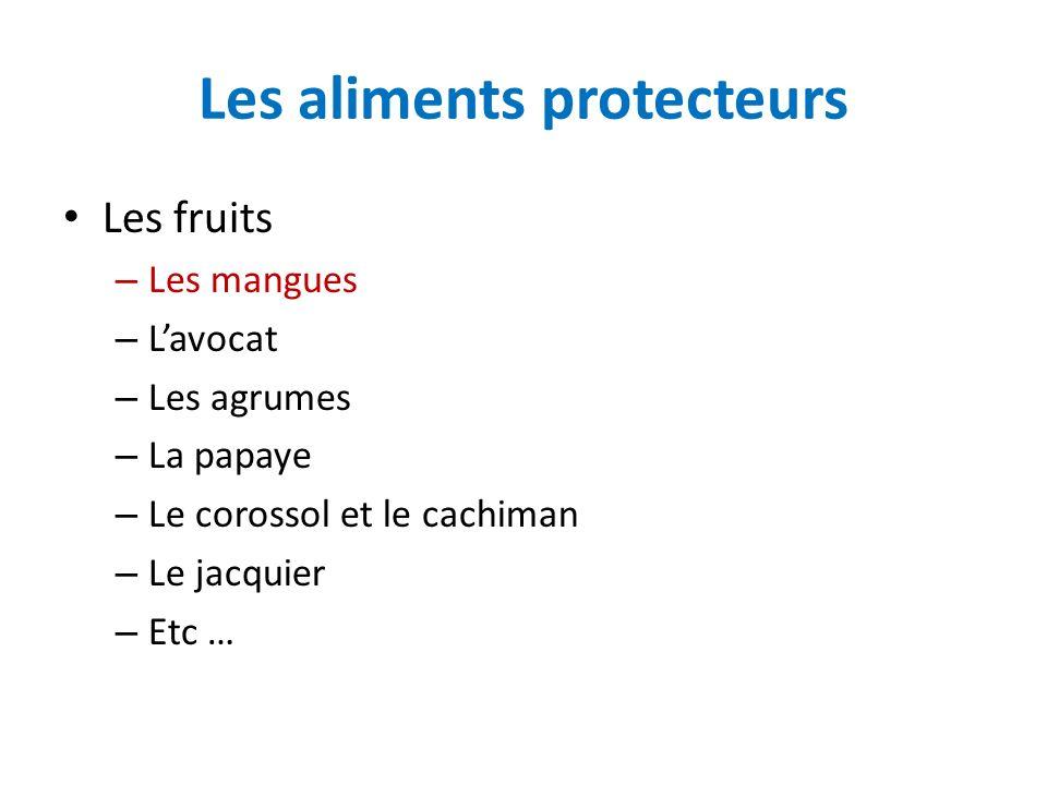Les aliments protecteurs Les fruits – Les mangues – Lavocat – Les agrumes – La papaye – Le corossol et le cachiman – Le jacquier – Etc …