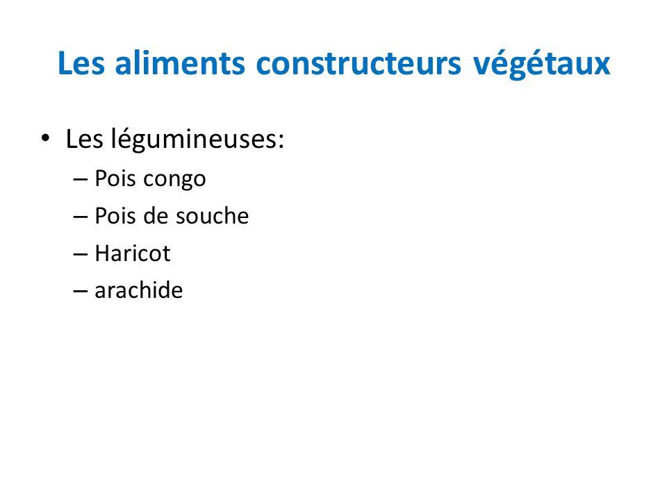 Les aliments constructeurs végétaux Les légumineuses: – Pois congo – Pois de souche – Haricot – arachide