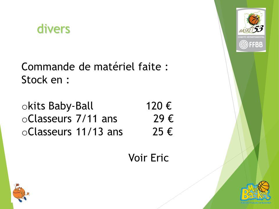 divers Commande de matériel faite : Stock en : o kits Baby-Ball 120 o Classeurs 7/11 ans 29 o Classeurs 11/13 ans 25 Voir Eric