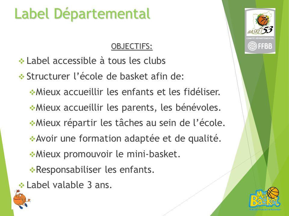 Label Départemental OBJECTIFS: Label accessible à tous les clubs Structurer lécole de basket afin de: Mieux accueillir les enfants et les fidéliser.