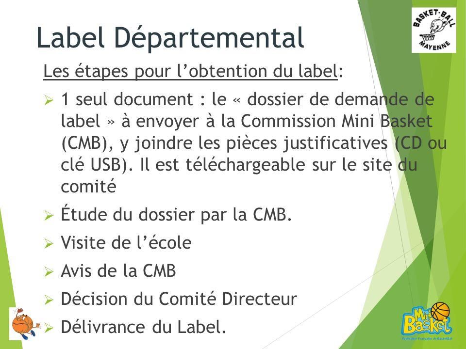 Les étapes pour lobtention du label: 1 seul document : le « dossier de demande de label » à envoyer à la Commission Mini Basket (CMB), y joindre les pièces justificatives (CD ou clé USB).