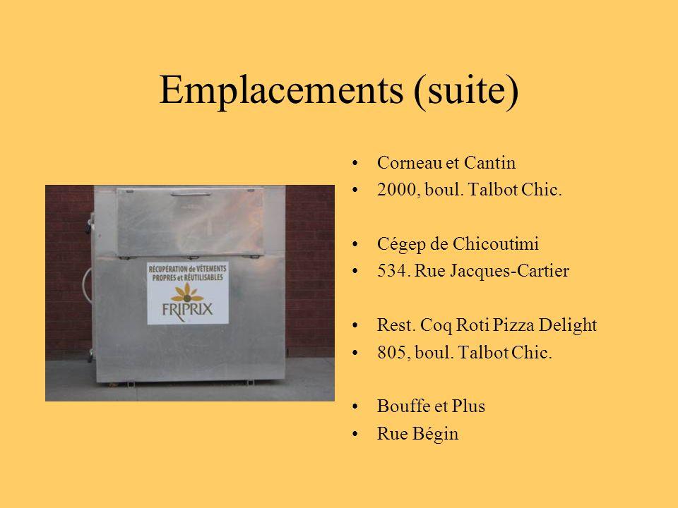 Emplacements (suite) Corneau et Cantin 2000, boul. Talbot Chic. Cégep de Chicoutimi 534. Rue Jacques-Cartier Rest. Coq Roti Pizza Delight 805, boul. T