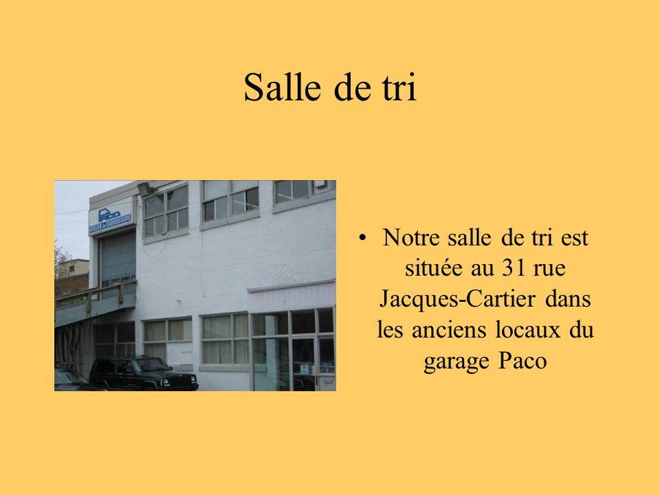 Salle de tri Notre salle de tri est située au 31 rue Jacques-Cartier dans les anciens locaux du garage Paco