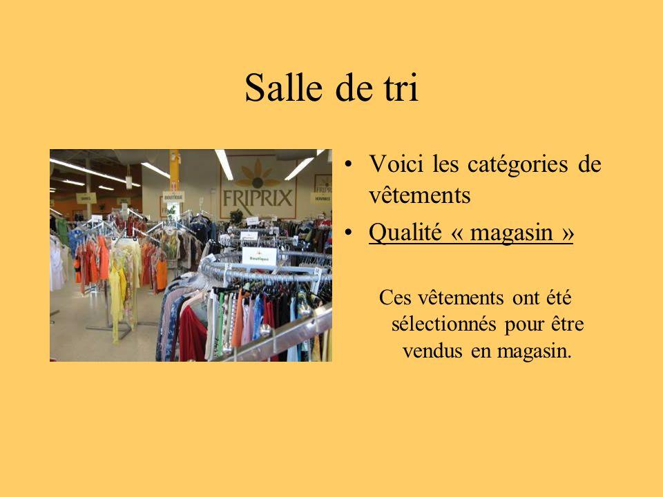 Salle de tri Voici les catégories de vêtements Qualité « magasin » Ces vêtements ont été sélectionnés pour être vendus en magasin.