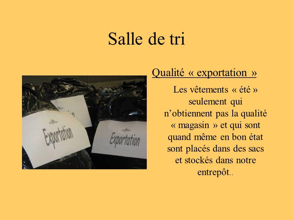 Salle de tri Qualité « exportation » Les vêtements « été » seulement qui nobtiennent pas la qualité « magasin » et qui sont quand même en bon état son
