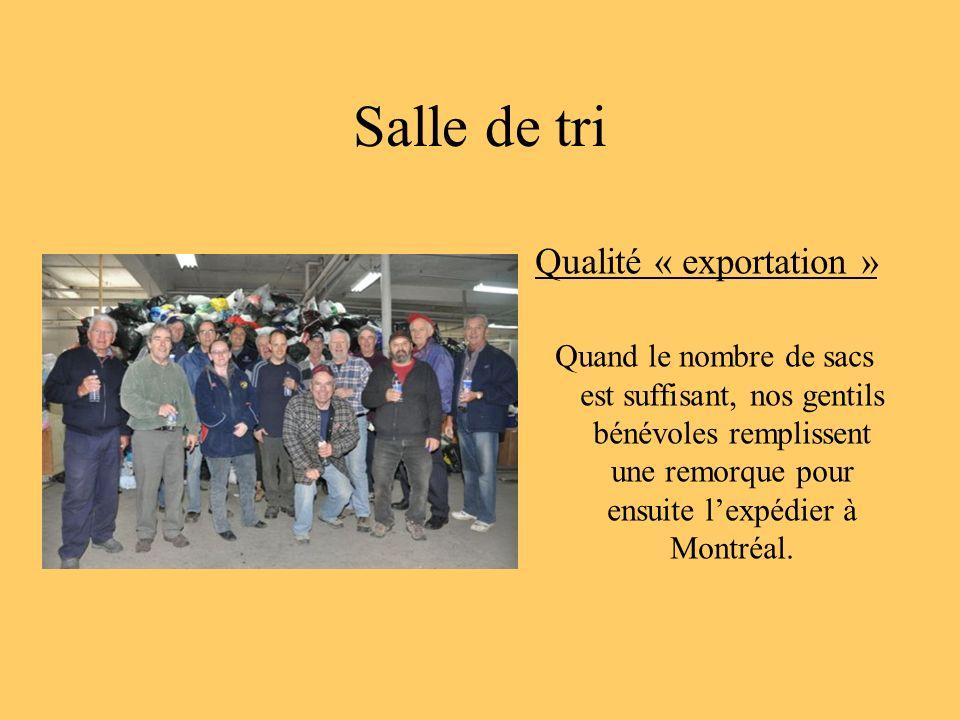 Salle de tri Qualité « exportation » Quand le nombre de sacs est suffisant, nos gentils bénévoles remplissent une remorque pour ensuite lexpédier à Mo