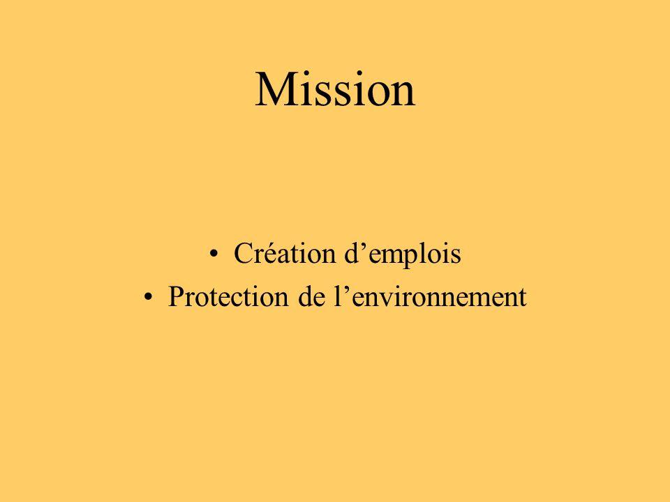 Mission Création demplois Protection de lenvironnement