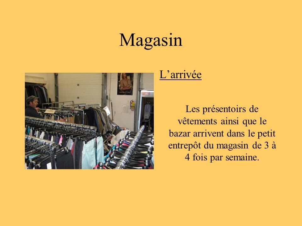 Magasin Larrivée Les présentoirs de vêtements ainsi que le bazar arrivent dans le petit entrepôt du magasin de 3 à 4 fois par semaine.