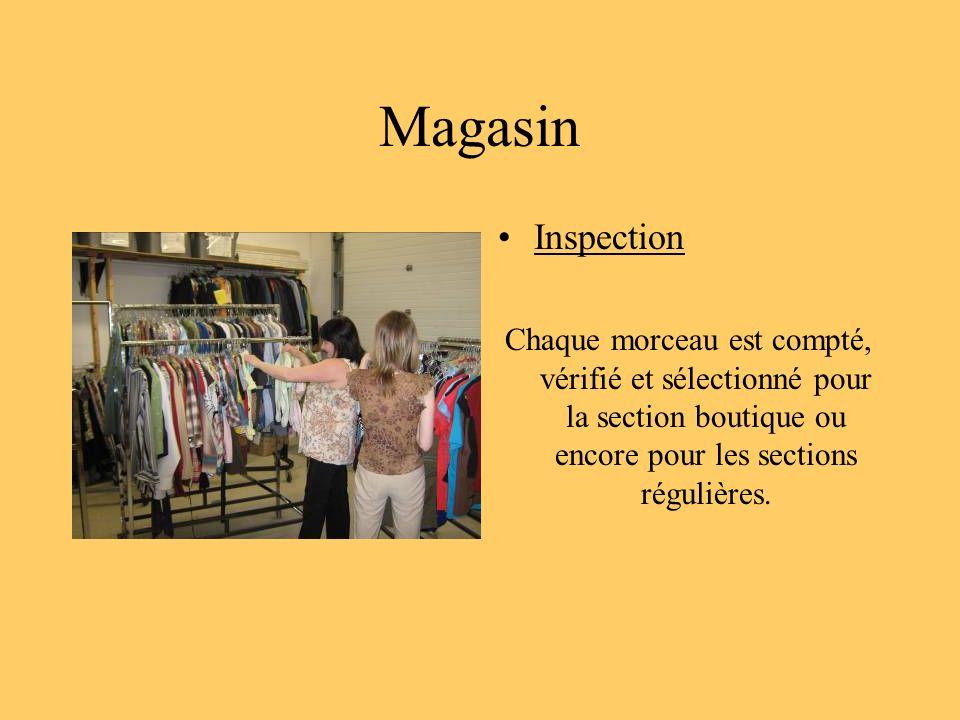Magasin Inspection Chaque morceau est compté, vérifié et sélectionné pour la section boutique ou encore pour les sections régulières.