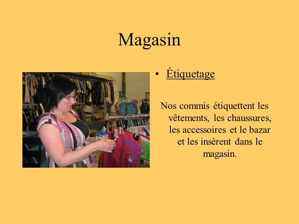 Magasin Étiquetage Nos commis étiquettent les vêtements, les chaussures, les accessoires et le bazar et les insèrent dans le magasin.