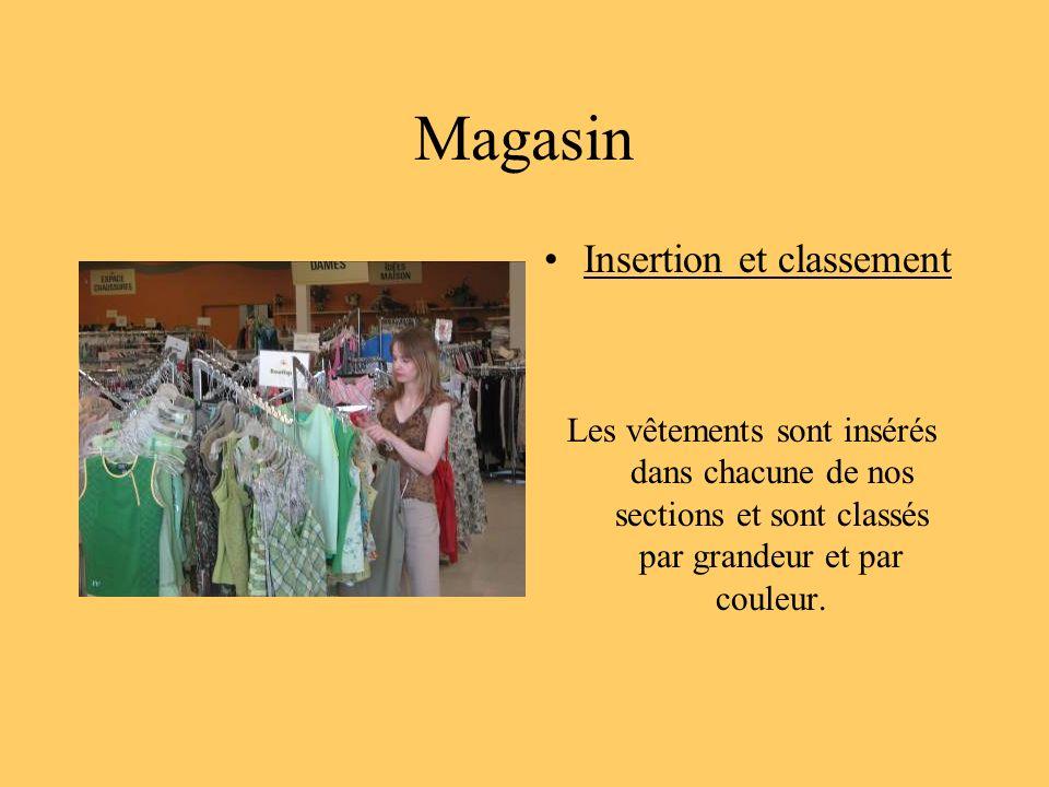 Magasin Insertion et classement Les vêtements sont insérés dans chacune de nos sections et sont classés par grandeur et par couleur.