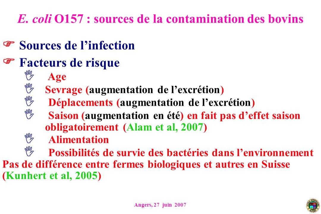 Angers, 27 juin 2007 Sources de linfection Facteurs de risque Age Sevrage (augmentation de lexcrétion) Déplacements (augmentation de lexcrétion) Saiso