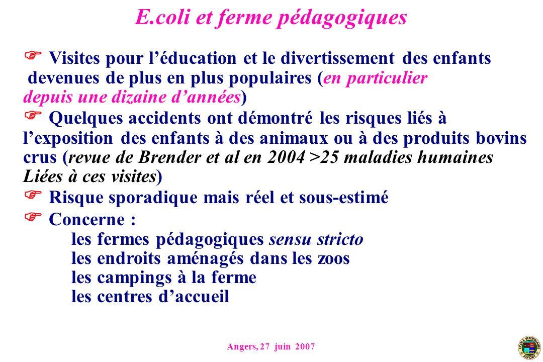 Angers, 27 juin 2007 E.coli et ferme pédagogiques Visites pour léducation et le divertissement des enfants devenues de plus en plus populaires (en par