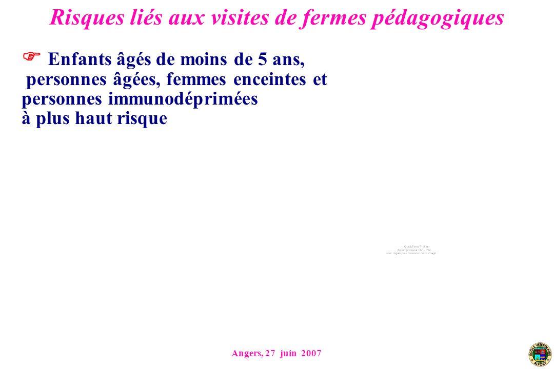 Angers, 27 juin 2007 Risques liés aux visites de fermes pédagogiques Enfants âgés de moins de 5 ans, personnes âgées, femmes enceintes et personnes immunodéprimées à plus haut risque