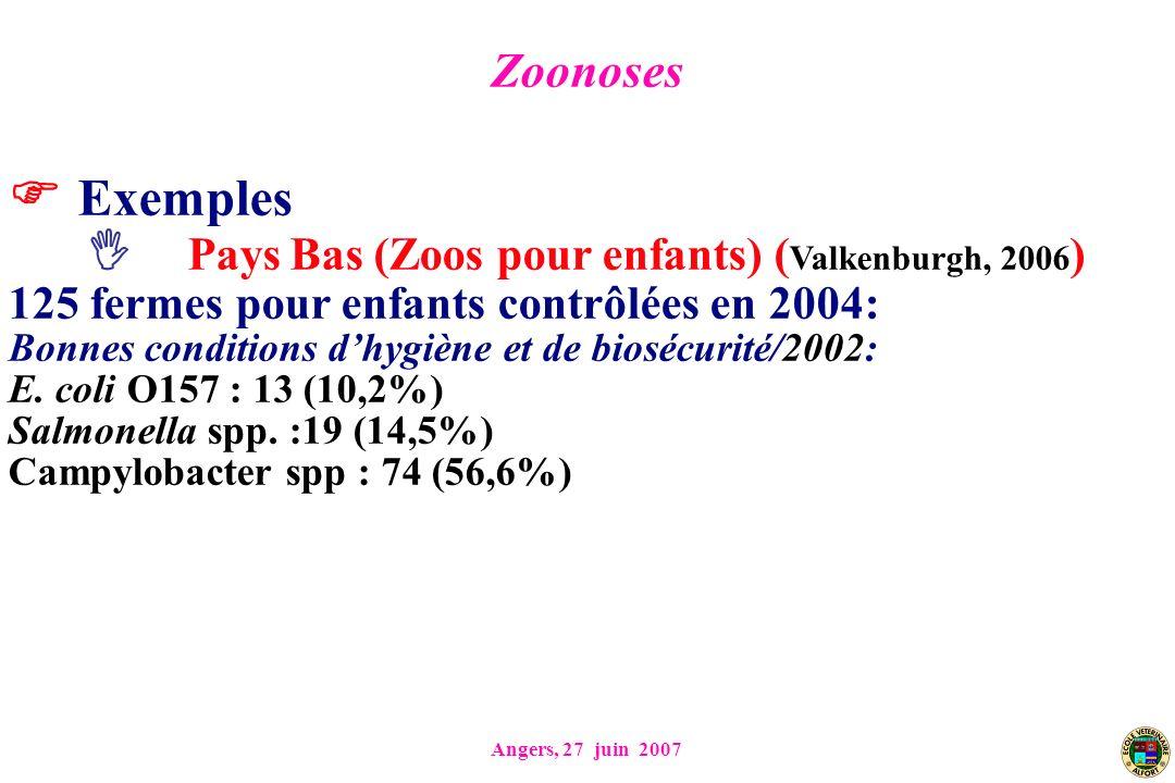 Angers, 27 juin 2007 Exemples Pays Bas (Zoos pour enfants) ( Valkenburgh, 2006 ) 125 fermes pour enfants contrôlées en 2004: Bonnes conditions dhygiène et de biosécurité/2002: E.
