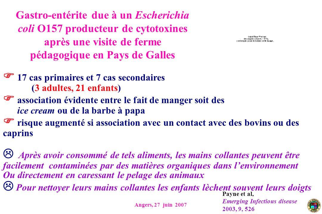 Angers, 27 juin 2007 Gastro-entérite due à un Escherichia coli O157 producteur de cytotoxines après une visite de ferme pédagogique en Pays de Galles