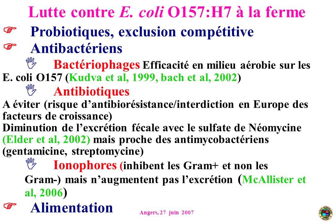 Angers, 27 juin 2007 Probiotiques, exclusion compétitive Antibactériens Bactériophages Efficacité en milieu aérobie sur les E. coli O157 (Kudva et al,